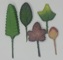 ASSORTED SHAPE SUMMER AUTUMN LEAVES Mulberry Paper leaves (#H)